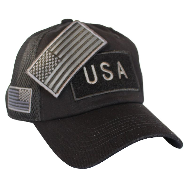 Black American Flag Velcro Patch Hat